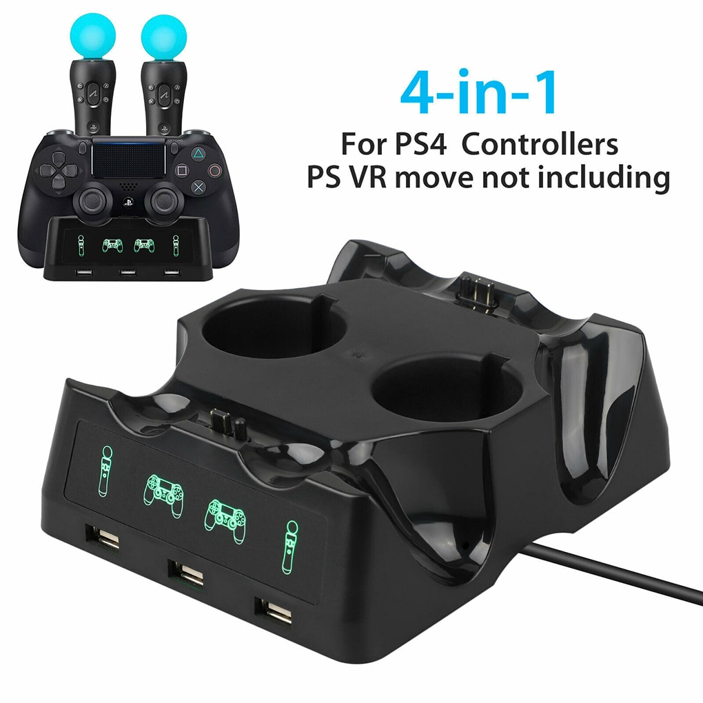 4 in 1 Controller Charging Dock Station for Playstation PS4 MOVE / VR Move Charger Stand Controller Charger