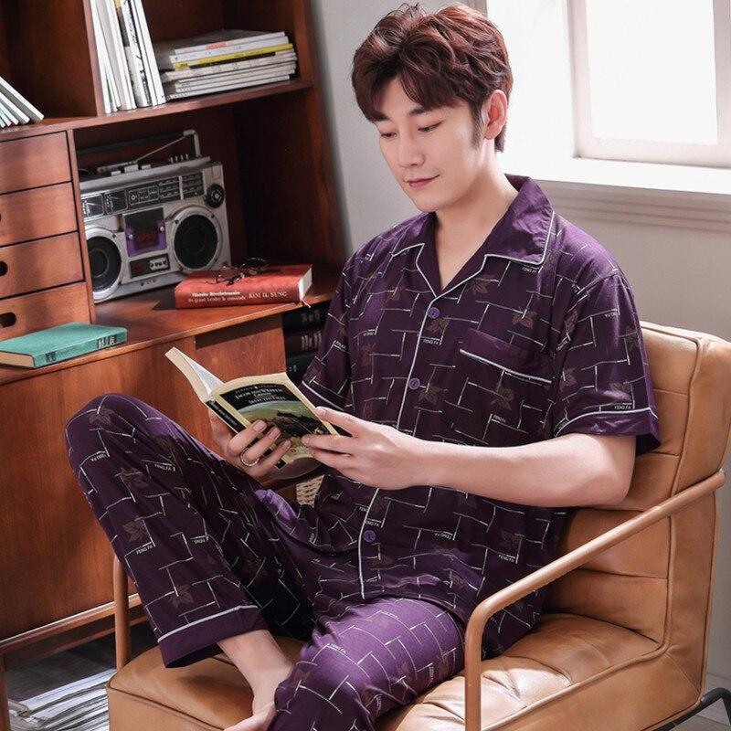 Мужские трикотажные хлопковые пижамы, мужские пижамы, брюки с коротким рукавом, домашний сервис