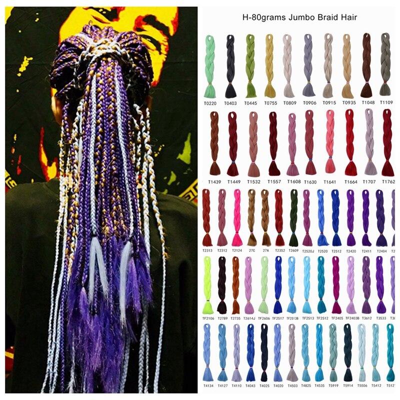 Desire for hair 24inch 60cm 100 colors high tempreture synthetic  jumbo braiding hair for dreadlocks box braids making