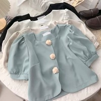 women office lady tops rose buttons short sleeve sweet cardigan tops square neck solid color england style retro top