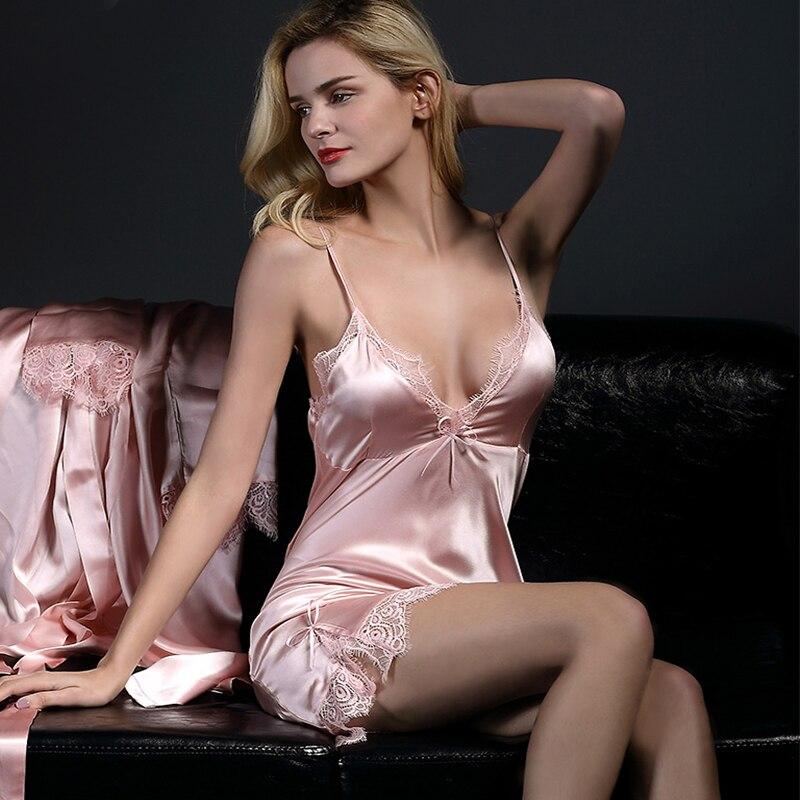 New 2021 Silk Nightgowns Women Summer Genuine Mulberry Silk Nightdress Female Nightie Sleepwear