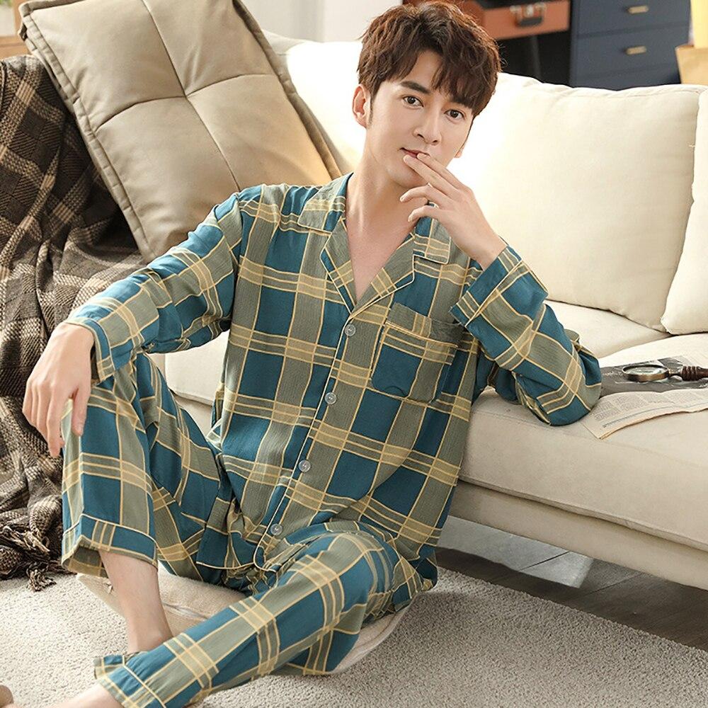 Весна осень хлопок пижама для мужчин повседневная длинный рукав плед пижама комплекты тонкие дышащие большие размеры пижамы мужские пижамы дом одежда