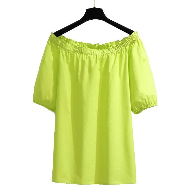 New Womens Tops and Blouses Summer 2020 Casual Red Green Slash Neck Short Sleeve Plus Size for Women 4xl 5xl 6xl