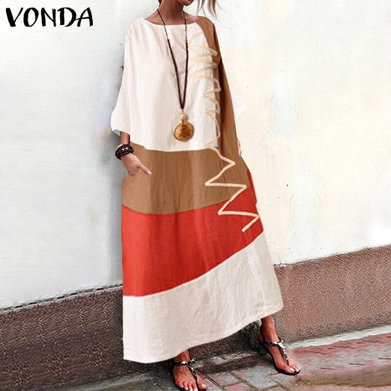 Mujeres vestido de verano de retales VONDA 2020 otoño Maxi vestido caftán Casual manga larga túnica Vestidos Mujer 100% Túnica de algodón de talla grande