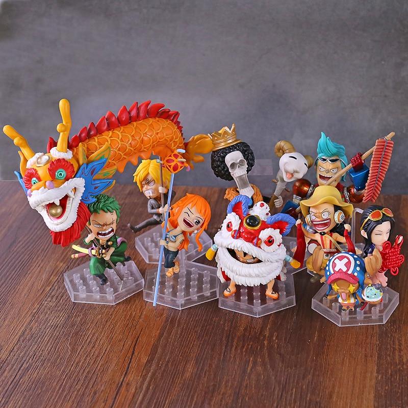 One Piece Luffy Zoro Sanji Nami Usopp Robin Chopper Franky Brook New Year Ver. PVC Figure Toys 10pcs/set