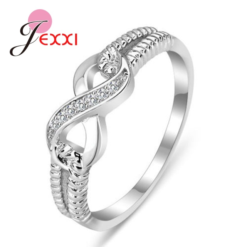 flyleaf 925 sterling silver rings for women cubic zirconia rotate creative fashion open ring femme fine jewelry wedding gift Lucky Letter 8 Engagement 925 Sterling Silver Rings Clear Crystal AAA Cubic Zirconia Wedding Rings For Women Fine Jewelry