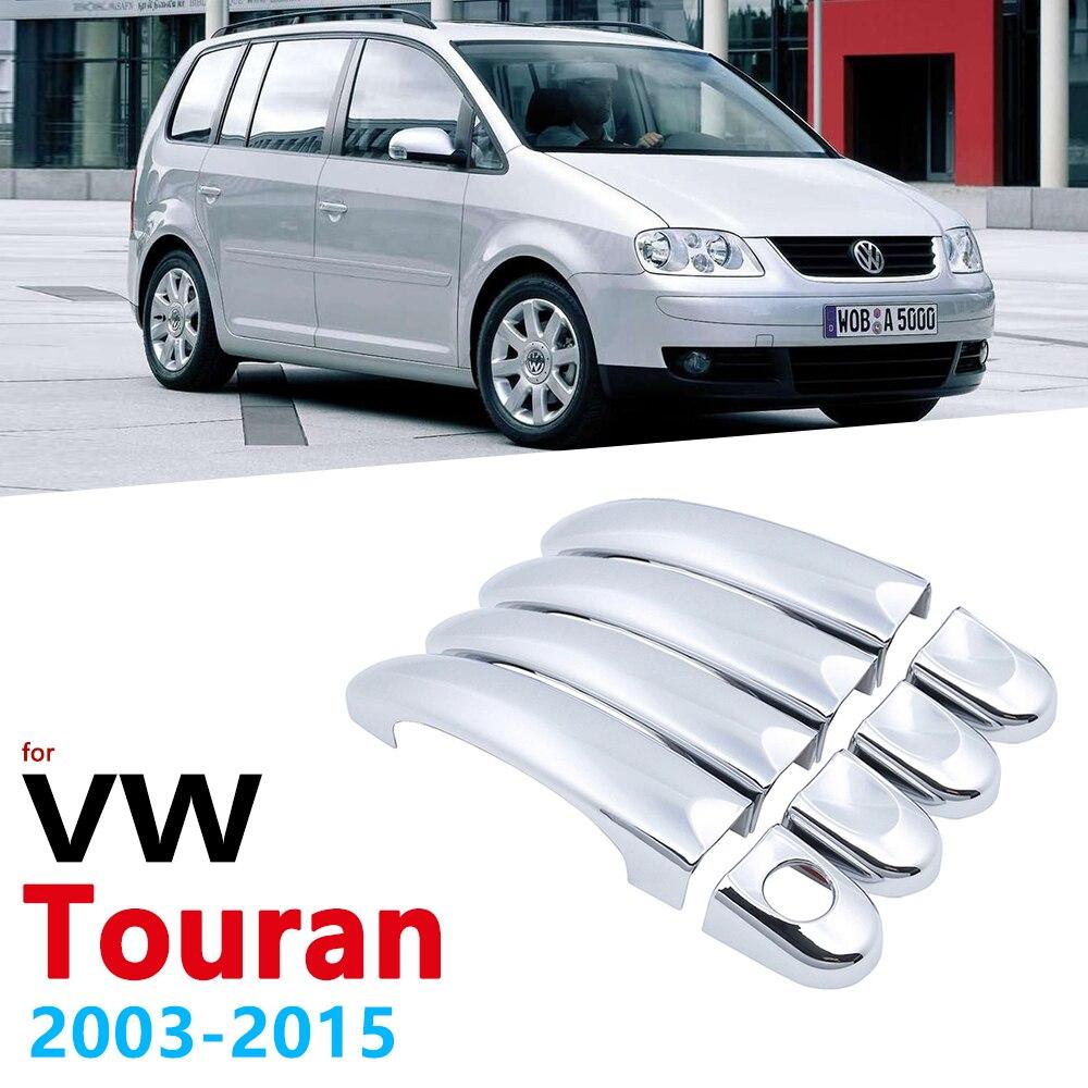 Capa para pegas de carro adesiva, cromada, para volkswagen vw touran mk1 2003 ~ 2015, acessórios para estilização de carro 2004 2005 2010 2011 2012 2013 2014