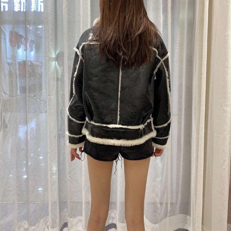 Winter Jacket Female 2020 New Arrival Short Coat Moto & Biker Natural Real Sheep Fur Full Pelt Thick Warm Women Parka