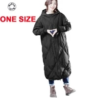 woxingwosu white duck down coat long down jacket loose big yards