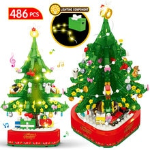 DIY Christmas Tree Rotating Music Box Building Blocks Friends Santa Claus Kids LED Shining Xmas Bric