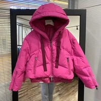 same down jacket womens short loose thickened fashion hooded white duck down bread jacket warm