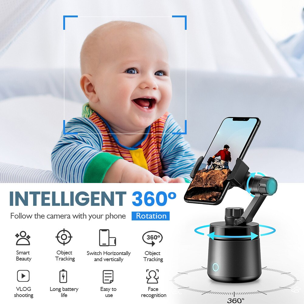 360 Smart Shooting Auto Gimbal Selfie Stick Object Tracking Face recognition for Living Vlog YouTube Phone holder no need apps enlarge
