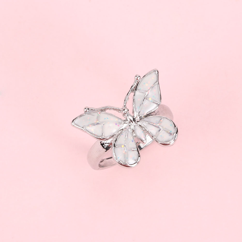 2021 New Fashion Artificial Opal Butterfly Ring Luxury Fashion Jewelry Lover Dress Charm Accessory Commemorative Gift