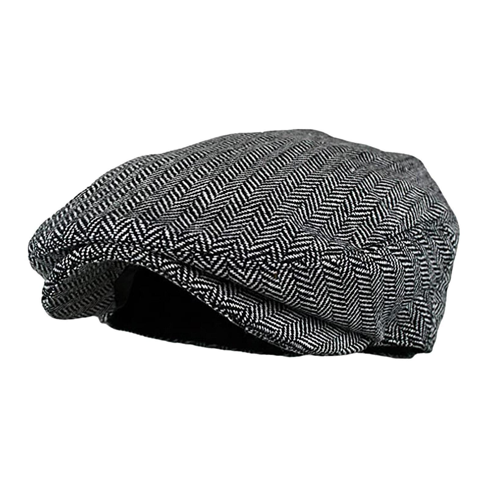 2020 outono inverno masculino boné chapéus boinas estilo ocidental britânico lã avançada plana ivy boné clássico vintage listrado boina