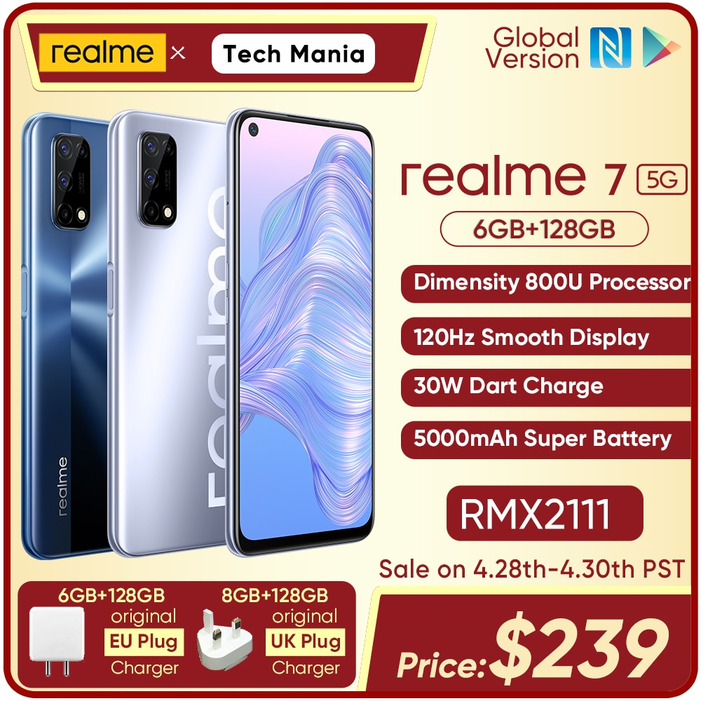 realme 7 5G Dimensity 800U 6/8GB 128GB ROM 120Hz Display 48MP Quad Camera 5000mAh Big Battery Global