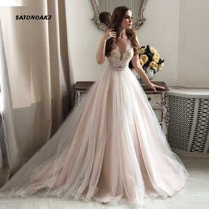 Elegant Lace Wedding Dress 2020 A Line V-Neck Short Sleeve Applique Tulle Bridal Gown Vestidos De Novia Robe Mariage Undefined