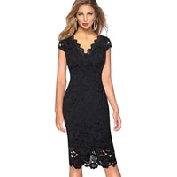 elegant women half sleeve knee length ladies formal dresses for work office wear business party sheath bodycon pencil dress