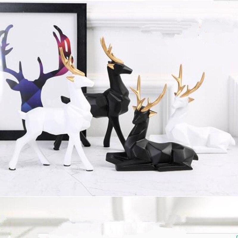Artisanat de wapiti géométrique   Décorations de salon, de style nordique et créatif, pour la décoration de meuble TV et vinothèque, mobilier de bureau