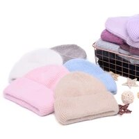 casual womens hats cashmere wool knitted beanies autumn winter brand new three fold thick 2020 knitted girls skullies beanies