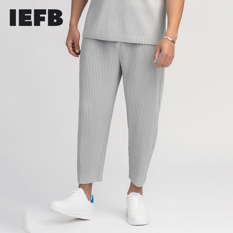 IEFB-بنطلون رجالي مطوي ، ملابس رجالية ، قماش مطاطي ياباني ، نمط رفيع ، فضفاض ، برباط ، غير رسمي ، طول الكاحل ، 9Y3050
