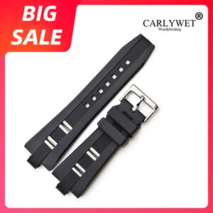 CARLYWET 26x9mm New Hot Top Quality Black Waterproof Silicone Rubber Black Replacement Watch Band Watch Strap Belt For Bvlgari