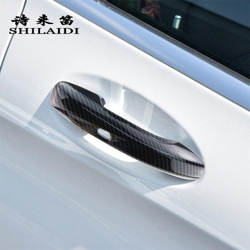 Fibra de carbono de estilo de coche para Mercedes Benz C E GLC clase W213 W205 X253 pegatinas de manija de cuenco de puerta exterior cubiertas de molduras de protección