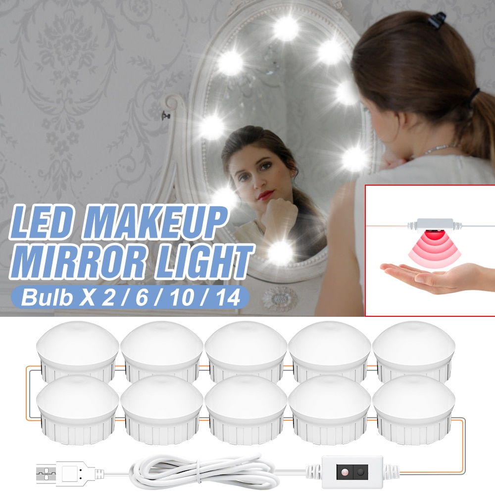 Dressing Table Dimmable Mirror Bulb Lamp 12V LED Makeup Mirror Light Hand Sweep Wall Lamp Bulb Hollywood USB Kit 2 6 10 14 Bulb