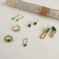 exquisite green square waterdrop rhinestone pendant earrings for women girls long gold color chain tassel earrings accessories