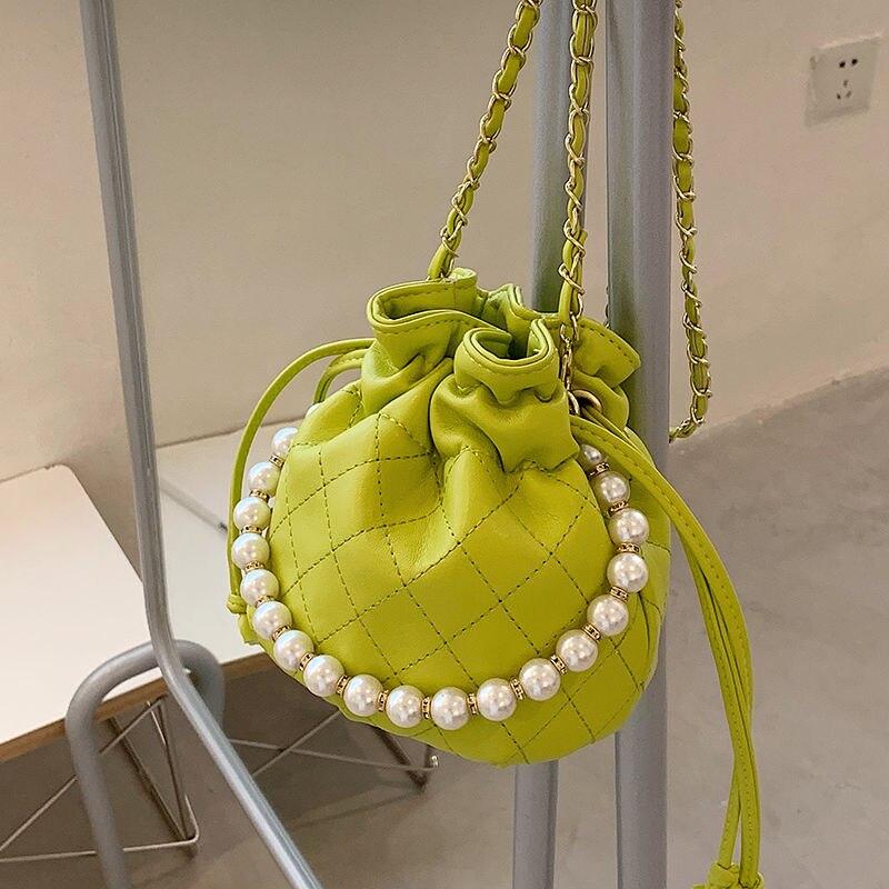Summer Women Fashion Neon Green Chain Shoulder Messenger Bags Female New Trendy Beading Lingge Sewing Mini Barrel-shaped Handbag