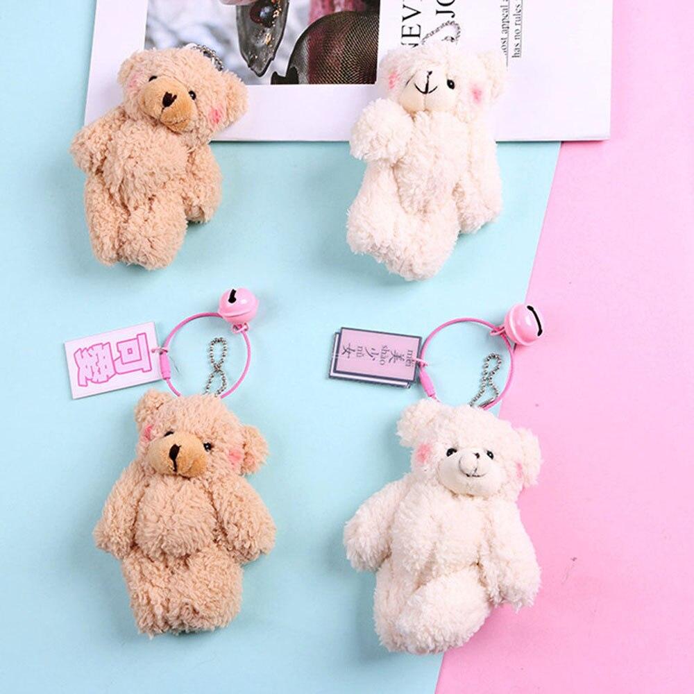Cute Girls Plush Fur Pompom Teddy Keychain Women Bear Toy Keyring Women Bag Car Key Chain Trinket Wedding Party Jewelry Gift