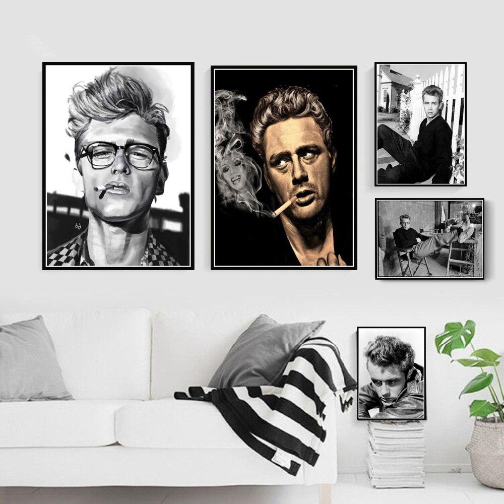 James Dean cigarrillos de humo película estrella póster de Actor arte de la pared imagen carteles e impresiones pintura de lienzo de decoración