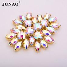 JUNAO-Strass en cristal cousu AB   2 pièces, 45*59mm, à grande fleur, Strass cristal Flatback, pierres dorées appliquées pour chaussures habillées