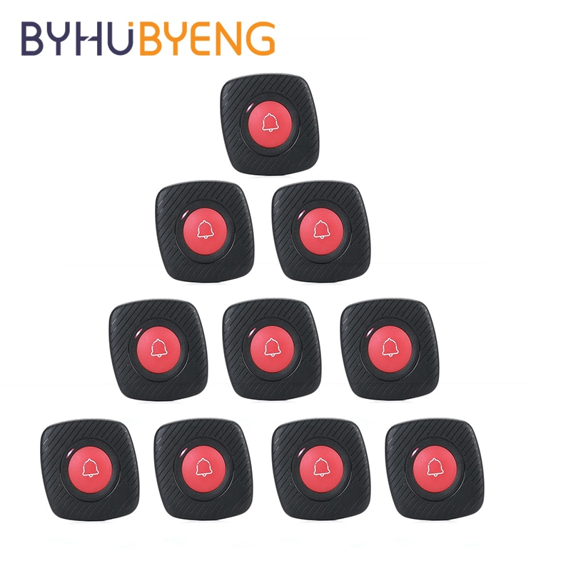 BYHUBYENG 10Pcs Disability Emergency Call Restaurant Service Calling Paging System Pager Waterproof Wireless Waiter Button