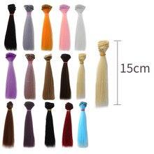 1pc 15*100cm accessoires de poupée droite en fibres synthétiques perruque de soie pour poupée perruques haute température fil multicolore cheveux épais