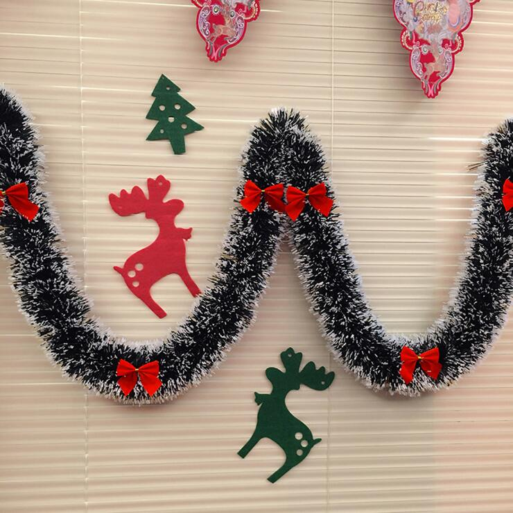 2M decoración de Navidad Bar Tops cinta guirnalda árbol de Navidad adornos blanco verde oscuro caña Tinsel fiesta suministros de cocina