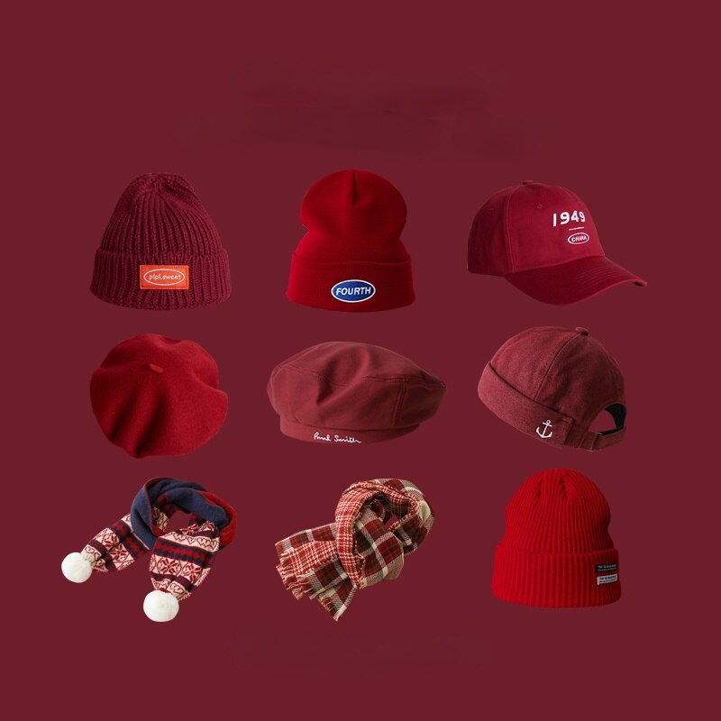 Ymh New Year Red Hat Winter Warm Knit Hat Birth Year Wine Red Beret Korean Woolen Hat Scarf for Women Fashion Vintage
