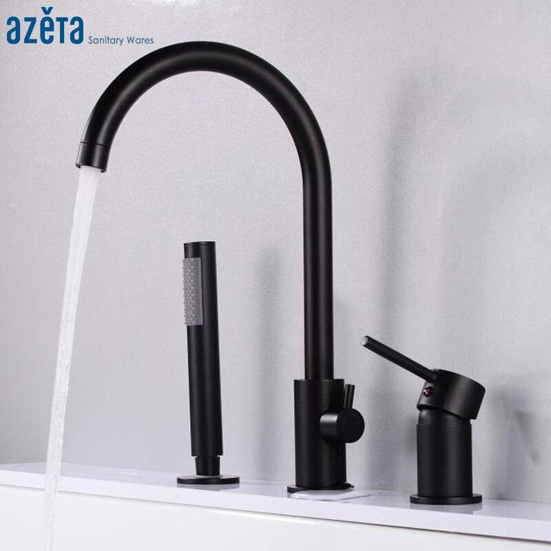 AZETA-صنبور حوض استحمام أسود مع 3 فتحات وخلاط حمام بمقبض واحد مزدوج ، AT6101B