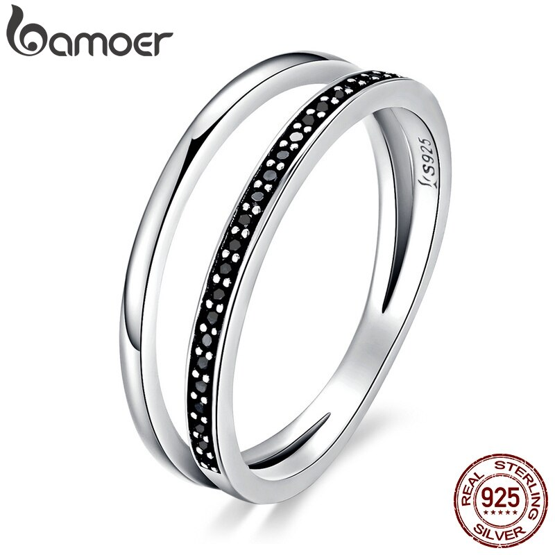 Женское кольцо на палец BAMOER, черное кольцо из серебра 925 пробы с двойным кругом и прозрачным фианитом, SCR082