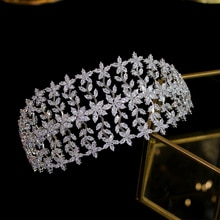 Nouvelle coiffe de diadèmes de fleurs en cristal de zircone de luxe couronne de reine royale pour la fête de défilé de demoiselle dhonneur
