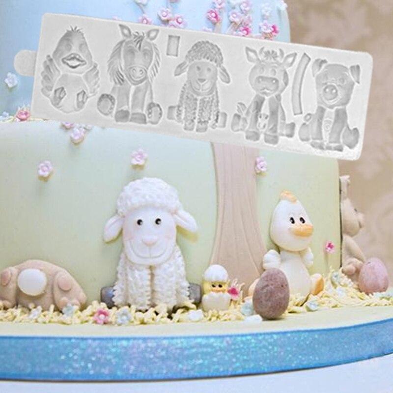 Bauernhof Tiere Formen Fondant Kuchen Dekorieren Werkzeuge Silikon Formen Sugarcrafts Schokolade Backen Werkzeuge für Kuchen Gumpaste Form