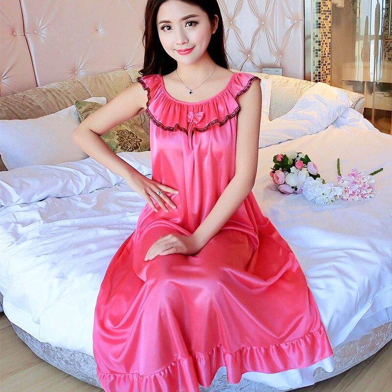 Camisón de satén de seda hielo Sexy de talla grande 4XL para mujer camisón de encaje Camisón con cuello en V para dormir ropa de dormir de verano