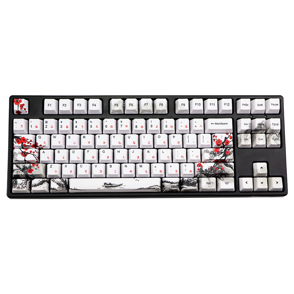 Novelty allover dye subbed Plum Blossom110 Keys OEM Profile Keycap For diy mechanical keyboard Korean Japanese character keycaps