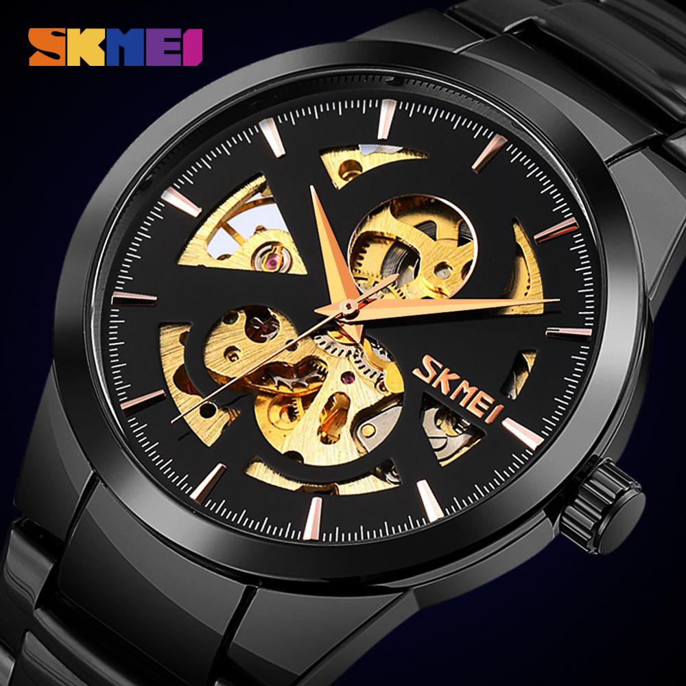 New SKMEI Automatic Watches Men Watch Fashion Waterproof Mens Mechanical Wristwatches Hollow Dial Watches Male Relogio Masculino