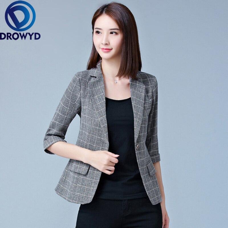 Novedad de 2020, Blazer gris a cuadros para mujer, traje de trabajo de oficina para mujer, chaquetas con bolsillos, abrigo, Tops informales ajustados, Blazer de manga larga para mujer