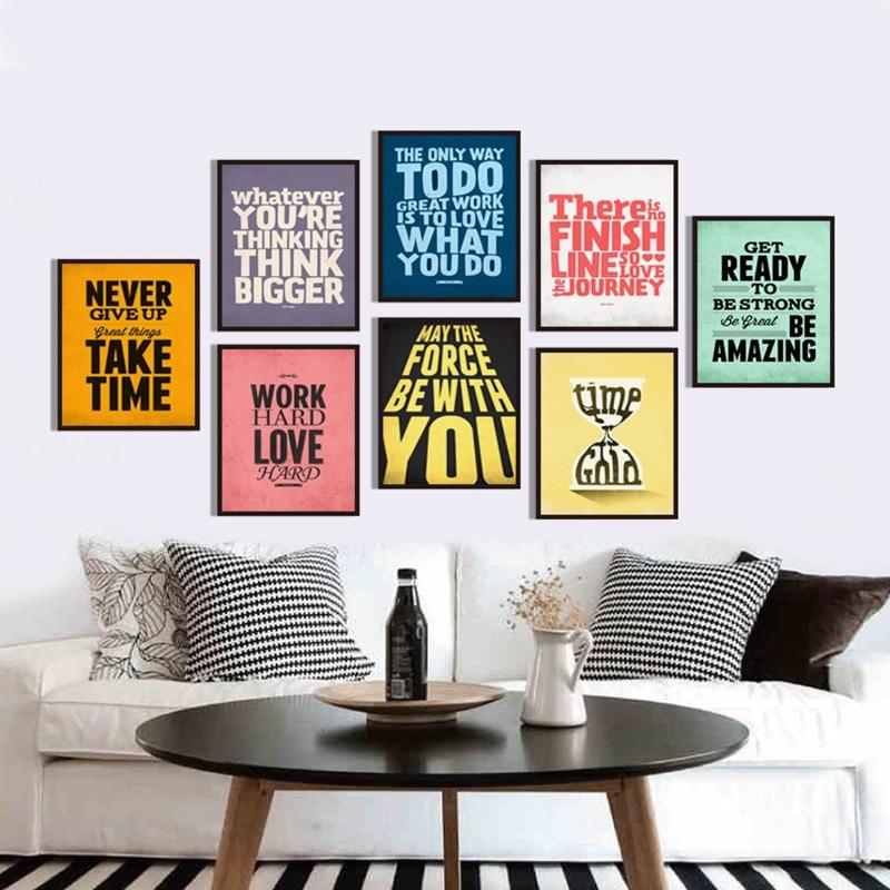 Nórdico Modular inglés frase, lema inspirador de la vida lienzo pintura imprimir cartel pared arte cuadros para la decoración del hogar de la sala de estar