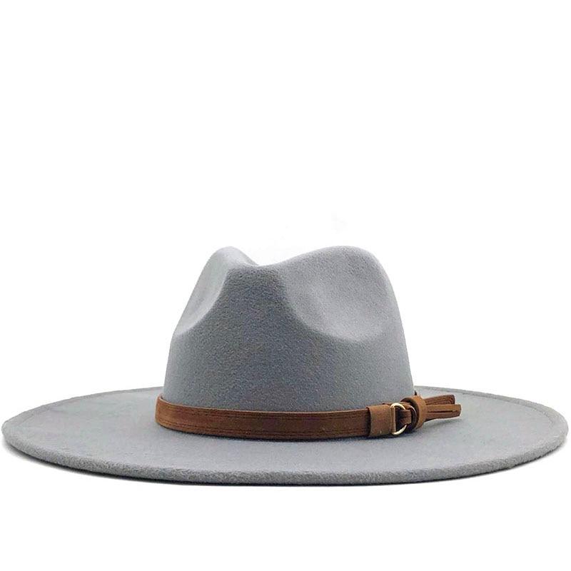 Women Men Big Wool Fedora Hat With Leather Ribbon Gentleman Elegant Lady Winter Autumn Wide Brim Jazz Church Panama Sombrero Cap