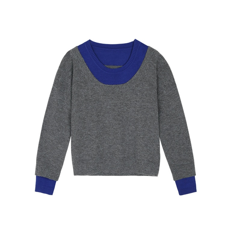 Womens Loose Fit Pullovers Sweater Long-Sleeve Crew Neck Slouchy Color Block Pullover Tops enlarge