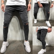Black skinny jeans men high quality pencil feet jeans slim fit street men's motorcycle ripped jeans