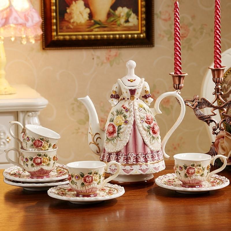 Figuritas de Taza de Café de Cerámica Rosa pintadas a mano estilo victoriano europeo, tetera taza, decoración artesanal para el hogar, escritorio, regalo de boda