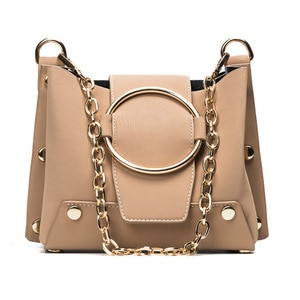 Purses and Handbags Personality Metal Ring Chain Bucket Bags for Women Casual Shoulder Crossbody Bag Large Clutch Bag Girl Totes